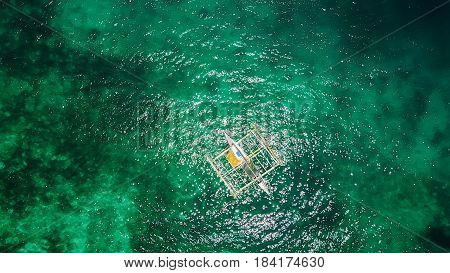 Amazing view to Yacht sailing in open sea at windy day. Drone view - birds eye angle. - Boost up color Processing.