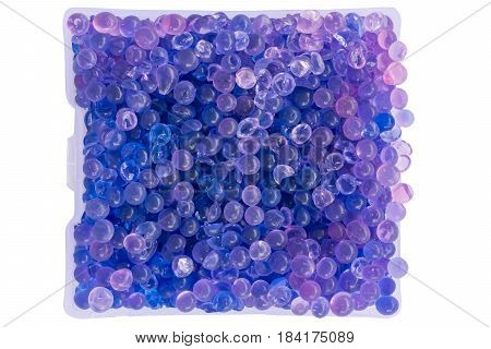 close-up silica gel in package isolated on white