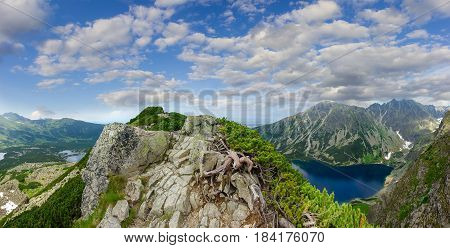 Panorama of mountain range with rocky outcrops and thickets of the creeping pine in the foreground and lakes in the valley on the background of other ranges and sky in the Tatra Mountains