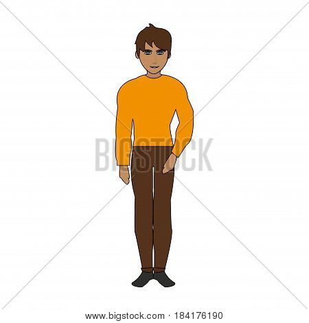 color image cartoon full body guy atlethic with casual clothing vector illustration