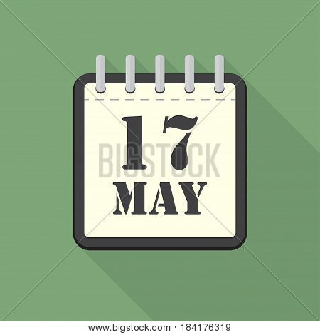 Calendar with 17 may in a flat design. Vector illustration