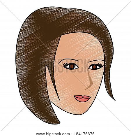 color pencil cartoon side profile face woman with short hairstyle vector illustration