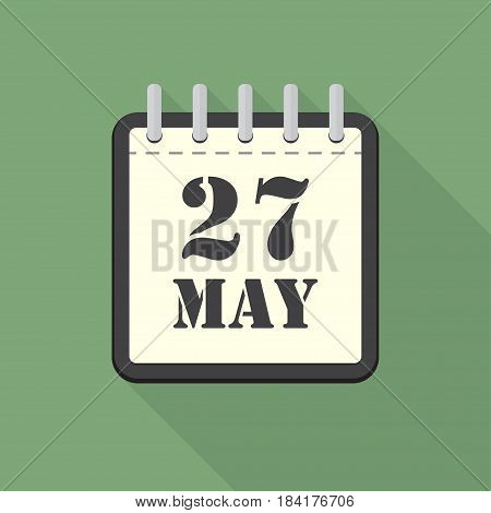 Calendar with 27 may in a flat design. Vector illustration