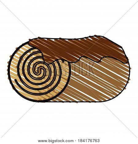 color drawing pencil cartoon pastry roll wit chocolat cream vector illustration
