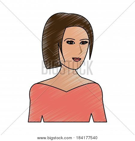 color pencil cartoon half body woman with straight short hairstyle vector illustration