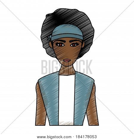 color pencil cartoon half body brunette woman with afro hair vector illustration