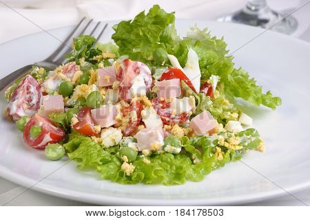 vegetable salad with ham and egg seasoned milk sauce