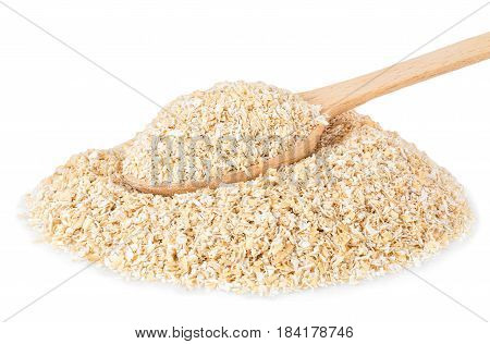heap of bran with wooden spoon isolated on white background. Food supplement to improve digestion. Dietary fiber. Product for healthy nutrition and diet