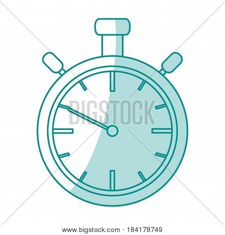 blue silhouette shading stopwatch graphic vector illustration
