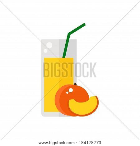 Peach fruit juice isolated icon on white background. Glass of juice with tubule. Flat style vector illustration.