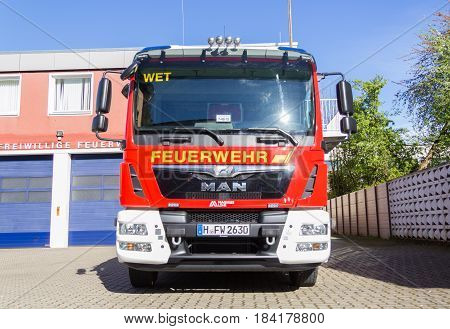 HANNOVER / GERMANY - APRIL 25 2017: german fire engine stands on street