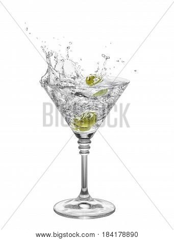 martini with olives in glass with splashes isolated on white background. Green olive is falling in the alcohol cocktail. Splash of martini from the falling olives