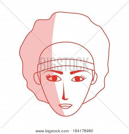 red silhouette shading cartoon front face woman with afro hair vector illustration