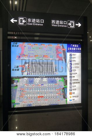 GUANGZHOU CHINA - NOVEMBER 15, 2016: Guangzhou South train station floor map.
