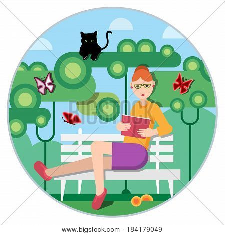 A woman reads a novell on a  bench in a park. Flat design style. Vector illustration.