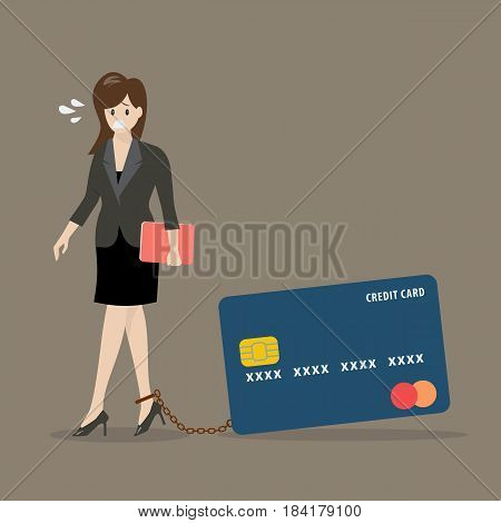 Business woman with credit card burden. Business concept