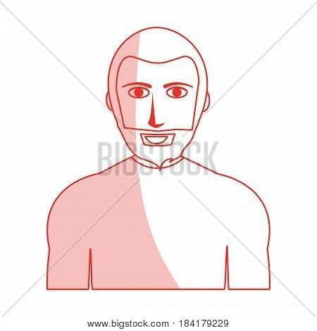 red silhouette shading cartoon half body man with muscular body and beard vector illustration