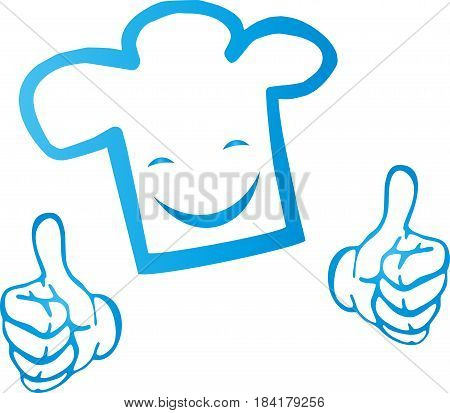 Chef's hat and smile, chef and restaurant logo