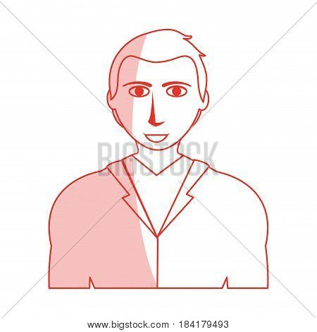 red silhouette shading cartoon half body man with atlethic body and jacket vector illustration