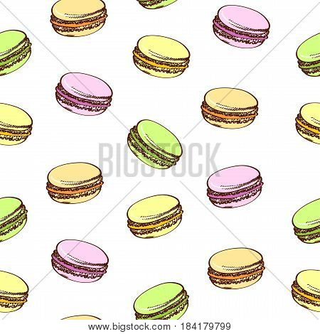 Seamless background with colored macaroons. Pasty traditional sweet macaroons biscuit. Cartoon style. Isolated on a white.