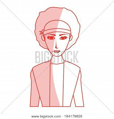 red silhouette shading cartoon half body woman with afro hair vector illustration