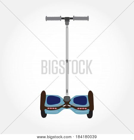 Vector illustration of two-wheeled self-balancing electric scooter. Segway isolated on white background.