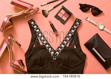 Fashion Design Woman Accessories Clothes Set. Cosmetic Makeup. Trendy fashion Dress, Sunglasses, Handbag Clutch. Glamor Metallic Pink fashion Heels. Luxury Shiny Party Night Out lady. Art. Minimal