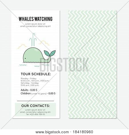 Whale watching vector vertical banner template. The tour announcement. For travel agency products, tour brochure, excursion banner. Simple mono linear modern design.