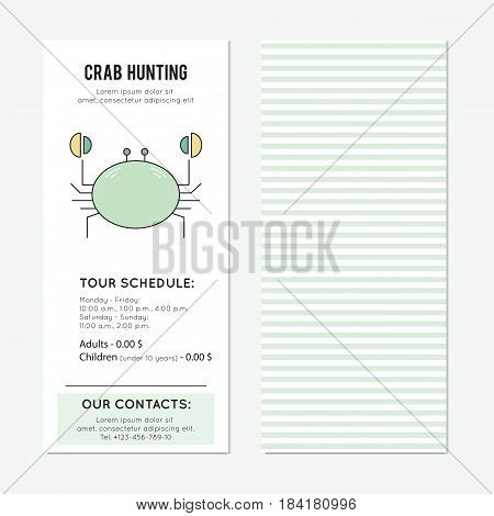 Crab hunting vector vertical banner template. The tour announcement. For travel agency products, tour brochure, excursion banner. Simple mono linear modern design.