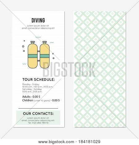 Diving vector vertical banner template, oxygen cylinders. The tour announcement. For travel agency products, tour brochure, excursion banner. Simple mono linear modern design.