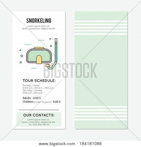 Snorkeling vector vertical banner template, mask and snorkel. The tour announcement. For travel agency products, tour brochure, excursion banner. Simple mono linear modern design.