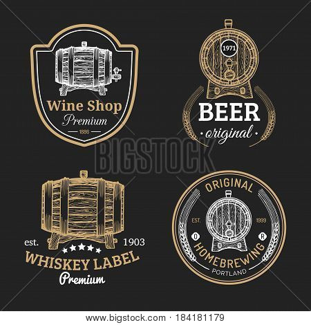 Wooden barrels collection for alcohol drinks icons or signs. Hand sketched kegs emblems. Whiskey, beer, wine logotypes set.