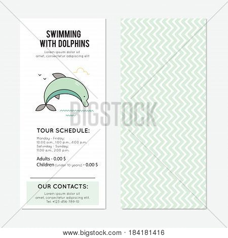 Dolphin vector vertical banner template. The tour announcement. For travel agency products, tour brochure, excursion banner. Simple mono linear modern design.