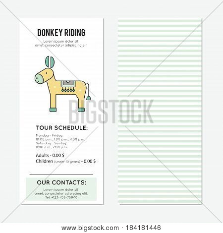 Donkey riding vector vertical banner template. The tour announcement. For travel agency products, tour brochure, excursion banner. Simple mono linear modern design.