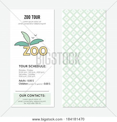 Zoo vector vertical banner template. The tour announcement. For travel agency products, tour brochure, excursion banner. Simple mono linear modern design.