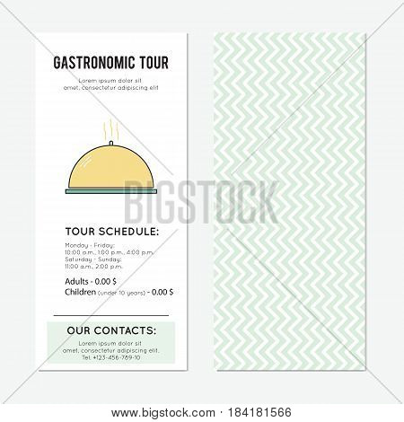 Dish vector vector vertical banner template. Restaurant or gastronomic tour announcement. For travel agency products, tour brochure, excursion banner. Simple mono linear modern design.