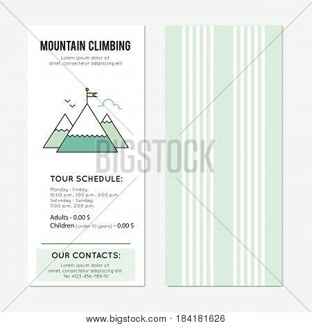 Mountain climbing vector vertical banner template, tour announcement. Head of a mountain. For travel agency products, tour brochure, excursion banner. Simple mono linear modern design.