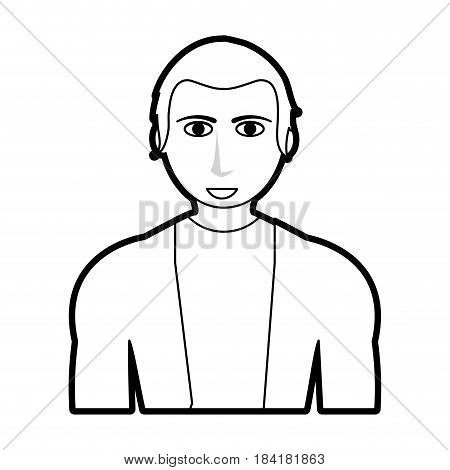 black silhouette cartoon half body guy with atlethic body and sport t-shirt vector illustration