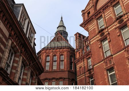 LONDON, GREAT BRITAIN - SEPTEMBER 18, 2014: This is the building of the college of the University of London built in the Neo-Gothic style.