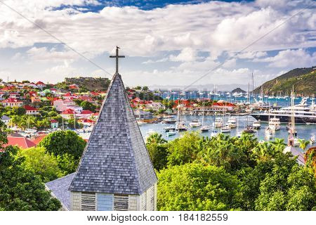 Saint Barthelemy Carribean view from behind Saint Barthelemy Anglican Church.