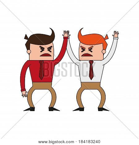 color image cartoon business men in discussion vector illustration