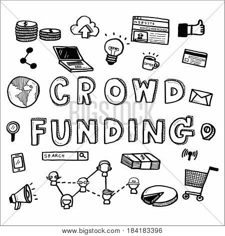 Hand Draw Business Doodles Crowdfunding On White Background.concept For Business Idea,startup And Fi