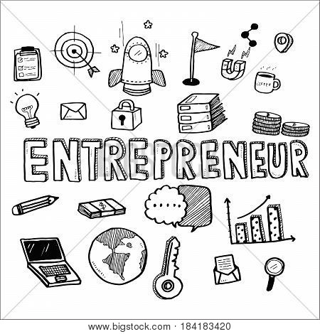 Hand Draw Business Doodles Entrepreneur On White Background.concept For Business Idea,startup And Fi