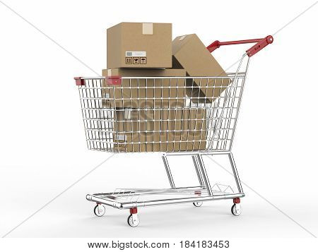 Shopping Cart With Carton Boxes