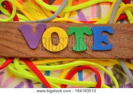 vote word on a abstract colorful  background