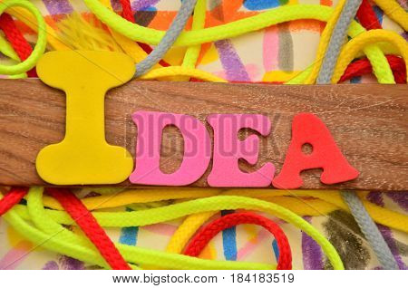 idea word on a  ababstract colorful  background