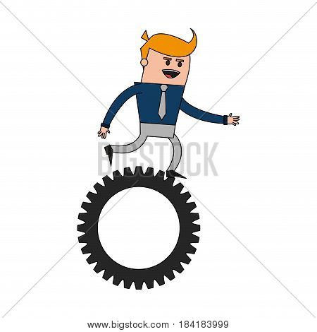 color image cartoon business man riding a gear vector illustration