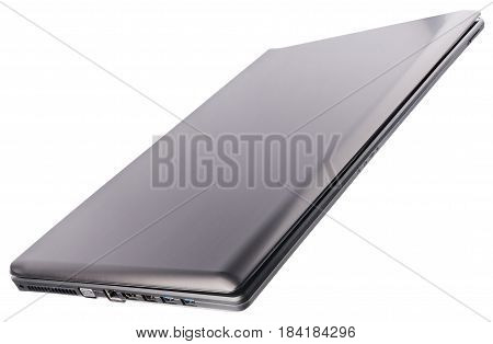 Closed laptop (notebook) above isometric view isolated on the white