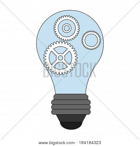 color image light bulb with gears and pinions vector illustration