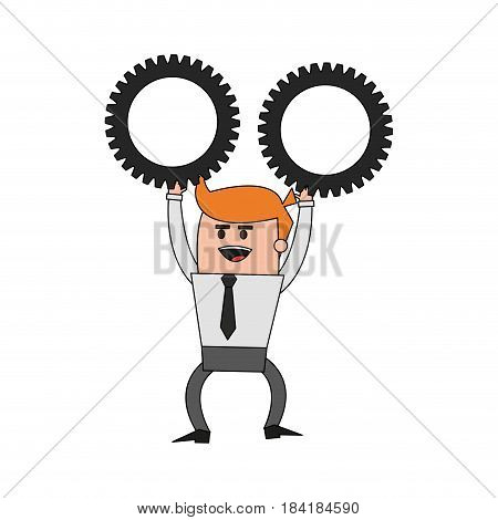 color image cartoon business man holding a gears vector illustration